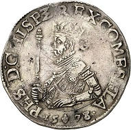 Flanders. Statendaalder 1578, Bruges. Very rare. Very fine to extremely fine. Estimate: 1,500,- euros. From Künker 207 (June 18, 2018), no. 512.