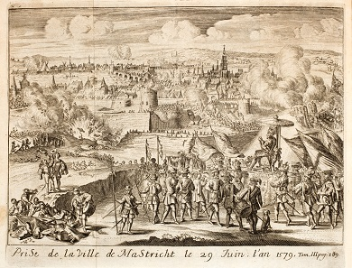 The seizure of Maastricht on June 29, 1579. – The palanquin as well as the little parasol might have been invented by the Dutch artist who wants Alexander Farnese to be seen as effeminate bungler.