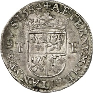 Brabant. Francis, duke of Anjou and Alençon. 1/2 rijksdaalder 1584, Antwerp. Very rare. Very fine to extremely fine. Estimate: 1,500,- euros. From Künker 207 (June 18, 2018), no. 246.