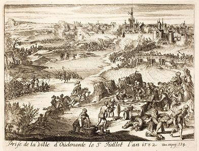 """The seizure of Oudenaarde on July 5, 1582. – The feasting Spaniards form part of the """"Black Legend"""" about the incapable and brutal opponents of those noble Dutch who only fought to win their liberty."""