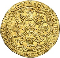 Gent. Noble 1582. Very rare. Extremely fine. Estimate: 2,500,- euros. From Künker 207 (June 18, 2018), no. 518.