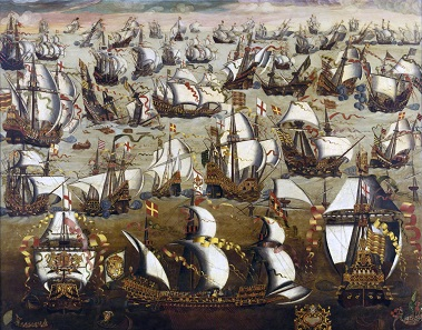 The sea battle against the Spanish Armada in August 1588. Unknown English painter before 1700.