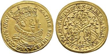 Nürnberg. Doppelter Goldgulden 1612 auf den Einzug des Kaiserpaares in der Stadt. Äußerst selten. Vorzüglich bis prägefrisch. Taxe: 20.000,- Euro