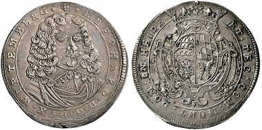 Württemberg. Eberhard III., 1633-1674. Taler 1647. Äußerst selten. Vorzüglich. Taxe: 20.000,- Euro