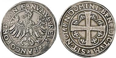 Frankfurt. Taler o. J. (1547). Äußerst selten. Ältester und seltenster Taler von Frankfurt. Äußerst selten. Gutes sehr schön. Taxe: 30.000,- Euro.
