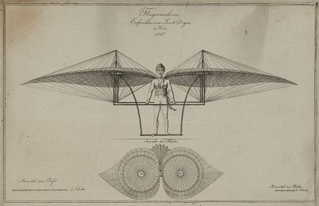 Jakob Degens Entwurf einer Flugmaschine.