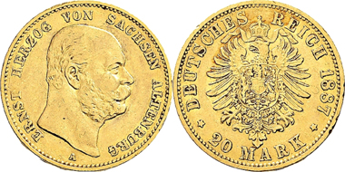 Lot 511: Germany. Duchy of Saxe-Altenburg. Ernst, 1853-1908. 20 Mark 1887. J. 269 Very fine. Estimate: 3,500 Euro.