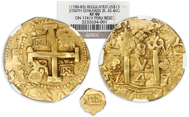 Lot 83, NGC-graded XF 40 $15 regulated gold piece made from a Lima, Peru, cob 8 escudos dated 1741 by Boston goldsmith Joseph Edwards, Jr., ca. late 1700s. Realized: $152,750.