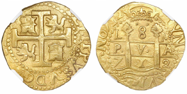 Lot 18, an NGC-graded MS 62 Lima, Peru, cob 8 escudos dated 1712M from the 1715 Fleet which sank off of the east coast of Florida. Realized: $25,850.