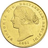 Los 13: Australien, Sovereign 1861. Schätzpreis: 800 CHF / Erzielter Preis: 2.500 CHF (exkl. Aufgeld).