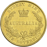 Lot 13: Australia, Sovereign 1861. Estimate: 800 CHF / Price realized: 2,500 CHF (excl. premium).