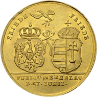 Lot 72: Brandenburg-Prussia, Frederick II. Gold medal of 5 ducats 1742, on the occasion of the Treaty of Breslau. Estimate: 5,000 CHF / Price realized: 11,000 CHF (excl. premium).