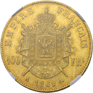 Lot 442: France, Napoleon III. 100 francs 1869 A (Paris). NGC MS65. Estimate: 7,500 CHF / Price realized: 16,000 CHF (excl. premium).