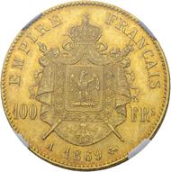 Los 442: Frankreich, Napoleon III. 100 Francs 1869 A (Paris). NGC MS65. Schätzpreis: 7.500 CHF / Erzielter Preis: 16.000 CHF (exkl. Aufgeld).