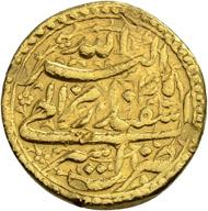 Los 513: Indien, Mughal Empire. Akbar I. Mohur, 45 Ilahi-Jahr (1599 n. Chr.). Von grösster Seltenheit. Schätzpreis: 20.000 CHF / Erzielter Preis: 140.000 CHF (exkl. Aufgeld).