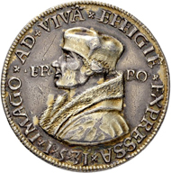 Lot 1336: Ore Mountains. Silver medal 1531 featuring Erasmus of Rotterdam. Dies of Hieronymus Magdeburger. Estimate: 1,500 CHF / Price realized: 5,000 CHF (excl. premium).