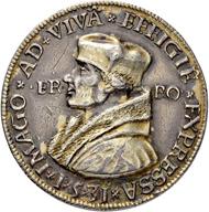 Los 1336: Erzgebirge. Silbermedaille 1531 auf Erasmus von Rotterdam. Stempel von Hieronymus Magdeburger. Schätzpreis: 1.500 CHF / Erzielter Preis: 5.000 CHF (exkl. Aufgeld).