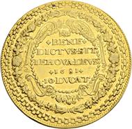 Los 2624: Schweiz, Bern. 10 Dukaten 1681, Stsch. David Dick. Von grösster Seltenheit. Ex Sammlung Vogel (Auktion A. Hess Nachf. Fkft./Main, Okt. 1928, Los 5436). Schätzpreis: 100.000 CHF / Erzielter Preis: 190.000 CHF (exkl. Aufgeld).