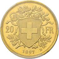 Los 3322: Schweiz, Eidgenossenschaft. 20 Franken 1897 (mit Stirnlocke). Von grösster Seltenheit. Schätzpreis: 80.000 CHF / Erzielter Preis: 130.000 CHF (exkl. Aufgeld).