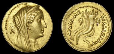 Lot 1233. Ptolemaic Kings of Egypt, Arsinoe II (wife of Ptolemy II). Commemorative Mnaieion (gold Octadrachm), c. 253-246. Extremely fine GBP 6,000-7,000.