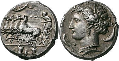 No. 9. Syracuse (Sicily). Decadrachm, unsigned work by Euainetos, circa 400 BC. Rare. Extremely fine. Estimate: 30,000,- euro.
