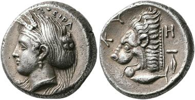 No. 51. Cyzicus (Mysia). Tetradachm, 390-340/1. High relief. Very fine. Estimate: 6,000,- euro.