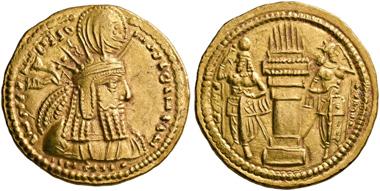 No. 72. Bahram I. (Sasanids), 273-276. Gold dinar. Very rare. Extremely fine. Estimate: 12,000,- euro.