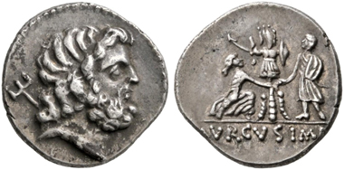 No. 98. Roman Republic. L. Staius Murcus. Denarius, 42-41 BC. Extremely rare. Slightly smoothed. Almost extremely fine. Estimate: 4,000,- euro.