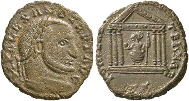 No. 188. Alexander of Carthage. 308-310. Follis, Carthage. Very rare. Very fine. Estimate: 3,000,- euro.