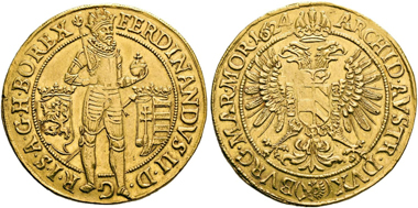 No. 201. Holy Roman Empire. Ferdinand II, 1619-1637. 10 ducats 1624, Prague. Very rare. Extremely fine. Estimate: 10,000,- euro.