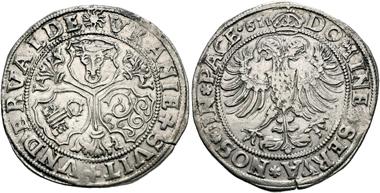 No. 236. Uri, Schwyz and Unterwalden / Switzerland. 1/2 taler 1561, Altdorf. Extremely rare. Slightly double struck, otherwise extremely fine. Estimate: 50.000,- euro.