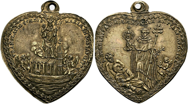 No. 277. Religion and pilgrimage. Sossau. Brass heart-shaped pendant celebrating the 500th churchly anniversary of Paul Seel. Very rare. Extremely fine. Estimate: 1,000 ,- euro.