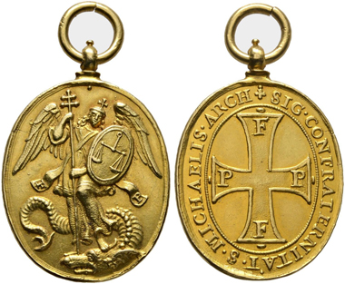 No. 302. Religion and pilgrimage. Golden token of the St. Michael's arch-brotherhood. From the collection of Rudolf Höfken of Hattingsheim. Extremely fine. Estimate: 5,000,- euro.