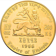 Lot 6577: Ethiopia. Complete gold set of 200, 100, 50, 20, and 10 Ethiopian dollars on  75th birthday and 50th year of the reign of Emperor Haile Selassie I. 1966. Starting bid: 4,800 euros.