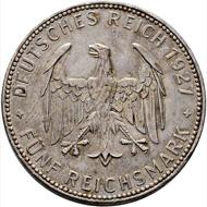Lot 6537: Germany. 5 reichsmark (450 years University of Tübingen). 1927. Extremely fine-. Starting bid: 100 euros.