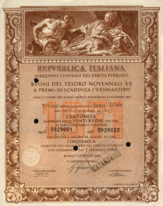 Certificate for 20 Treasury bonds of 5,000 Lire, 1962. Vignette: Nettuno offre doni a Venezia, by Giambattista Tiepolo (1696-1770).