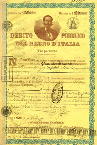 With the unification of Italy, the government set up the Gran Libro - 'Great Ledger of the public debt of the Kingdom of Italy' - in which all debts of pre-unitary states were collected. This 3% bond from 1871 depicts Victor Emmanuel II (1820-1878), King of Sardinia from 1849 until 17 March 1861 when he became King of Italy. The portrait was designed by artist Lodovico Bigola, designer and engraver of Italian state bonds and stamps.
