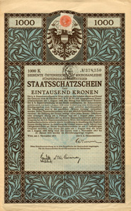 The red revenue stamp with 'ITALIAN TESORO' annulation stamp, cancelled this 5.5% 7th Austrian war loan from 1917, indicating that it was exchanged for an Italian state bond.