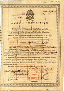 Yearly income bond from the Papal States, issued in 1832. Usually, the emblem of the Pope shows a tiara, but, as in this case when the certificate was printed, the version with an umbrella is put in place after the death or a resignation of a pope.