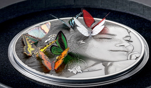 This perspective shows how the butterflies hover over the coin.
