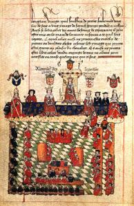 Eine Darstellung des englischen Parlaments aus dem 16. Jahrhundert.