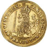Charles I. Triple unit 1644, Oxford. Very rare. Almost extremely fine. Estimate: 50,000,- euros. From Künker auction 310 (June 21, 2018), No. 6144.