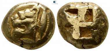 Lot 150: Mysia. Kyzikos. Electrum stater, 550 BC. Very fine.
