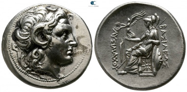Lot 96: Kings of Thrace. Lysimachos, 305-281 BC. Tetradrachm, 297/6-282/1 BC, Lampsakos. Nearly extremely fine.