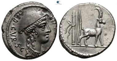 Lot 435: Roman Republic. Cn. Plancius. Denarius, 55 BC, Rome. Extremely fine.