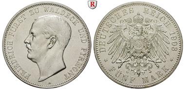 Deutsches Kaiserreich. Waldeck-Pyrmont. Friedrich. 5 Mark 1903 A. J. 171. ss-vz/vz. 3.250. Euro.