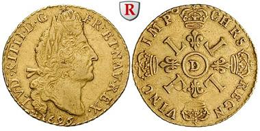 Frankreich. Louis XIV., 1643-1715. Louis d'or aux quatre L 1696 D Lyon. Friedb. 433. sehr schön – vorzüglich. 1.450 Euro.