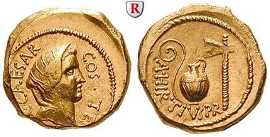 Römische Republik. Caius Iulius Caesar. Aureus, 46 v. Chr., Rom. Cr. 466/1. vorzüglich / vorzüglich +. 9.250 Euro.