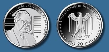 Die Münze zum 150. Geburtstag des Architekten und Designers Peter Behrens erscheint im Herbst 2018.
