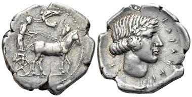 Lot 31: Sicily. Catana. Tetradrachm, circa 430. Very rare. Very Fine. Starting bid: 1,750 GBP.